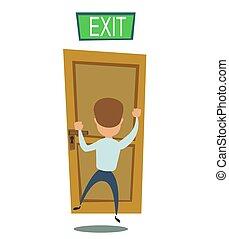 sentier, concept, freedom., exit., business, illustration., homme affaires, marche