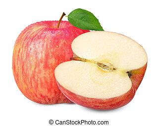 sentier, coupure, blanc, pomme, isolé