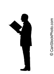 sentier, coupure, lecture, silhouette, homme