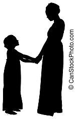 sentier, coupure, silhouette, fille, mère