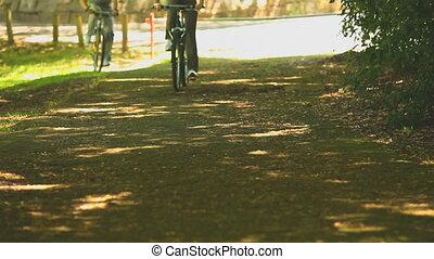 sentier, cyclisme, couple, sport