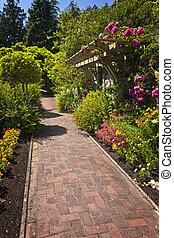 sentier, jardin fleur, pavé
