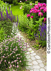 sentier, jardin, fleurir