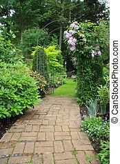 sentier, jardin, joli