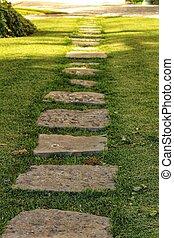 sentier, jardin pierre