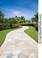 sentier, jardin pierre, courbé
