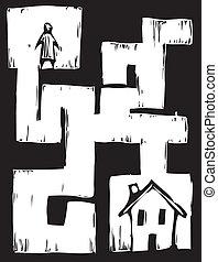 sentier, logement