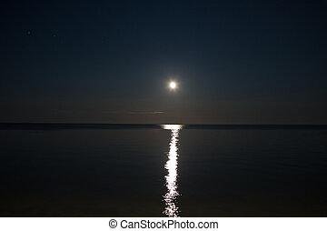 sentier, mer, lune, ciel nuit