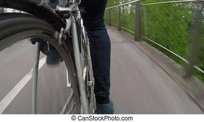 sentier, nature, cycliste, pédale, urbain, roues, vélo, jambes, dehors, cyclisme