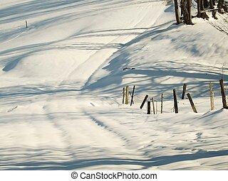 sentier, neigeux