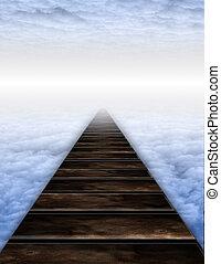 sentier, nuages