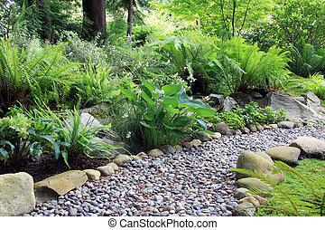 sentier, pays boisé, jardin, ombre