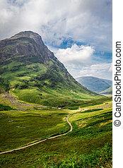 sentier, pays montagne, ecosse