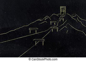 sentier, reussite, métaphore, montagne
