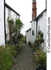 sentier, vieux, galet, petites maisons