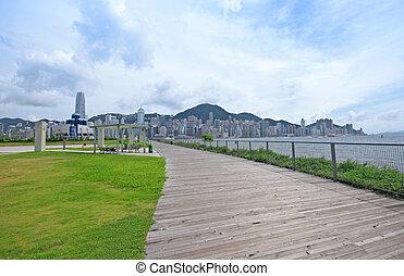 sentiero, attraverso, uno, verde, parco città