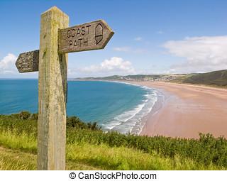 sentiero costiero, woolacombe, devon
