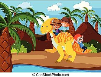 sentiero per cavalcate, bambini, dinosauro