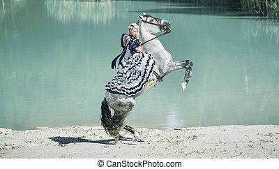 sentiero per cavalcate, cavallo, biondo, ritratto