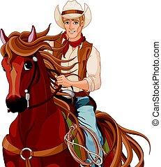 sentiero per cavalcate, cavallo, cowboy