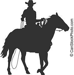 sentiero per cavalcate, cavallo, laccio, cowboy