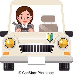 sentiero per cavalcate, donna, automobile