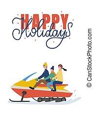 sentiero per cavalcate, feste famiglia, su, snowmobiling,...