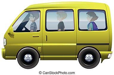 sentiero per cavalcate, furgone, giallo, persone