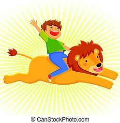 sentiero per cavalcate, leone