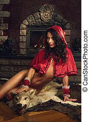 sentiero per cavalcate, seducente, rosso, cappuccio
