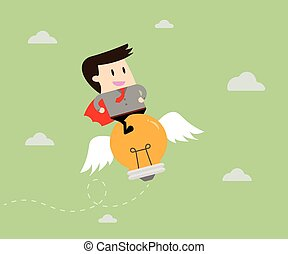 sentiero per cavalcate, uomo affari, illustrazione affari, idea., concetto