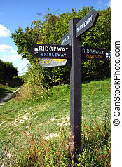 sentiero, ridgeway, segno