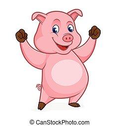 sentiment, cochon, dessin animé, heureux