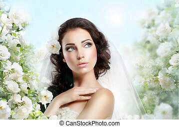 Sentiment. Perfect Exquisite Woman with Flowers over Vernal Floral Background