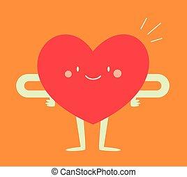 sentimento, coração, bom, feliz