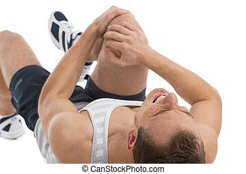 sentimento, homem, dor, knee., seu, costas, deitando, ...