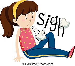 sentimento, menina, aborrecido, cansadas