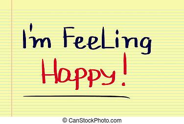 sentimiento, concepto, feliz