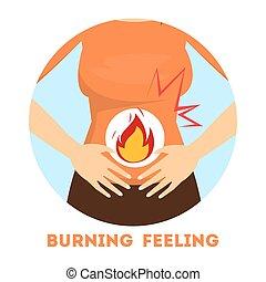 sentimiento, stomach., síntoma, abrasador, gastritis