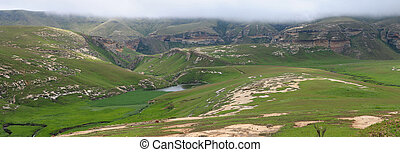 Sentinel and Langtoon Dam in the Golden Gate Highlands National Park, South Africa. Stitched panorama from 6 separate photos