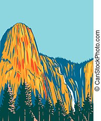 Sentinel Falls and the Giant Monolith Sentinel Rock Residing Within Yosemite National Park California USA WPA Poster Art