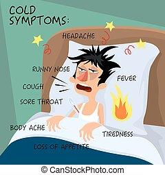 sentir, character., froid, style., grippe, concept., -, symptômes, vecteur, santé, grippe, plat, affiche, illustration, plaie, toux, dessin animé, homme, fiévreux, monde médical, throat., froids