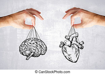 sentir, coeur, concept, logique, cerveau