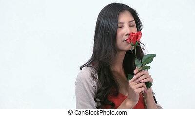 sentir, femme, rose