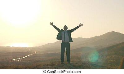 sentir, homme affaires, liberté, nature