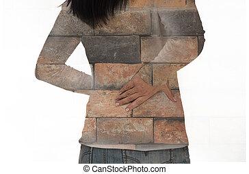 sentir, mulher, dor, costas