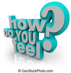 sentir,  question, comment, mots, vous,  3D