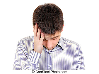 sentir, triste, adolescent, mal tête