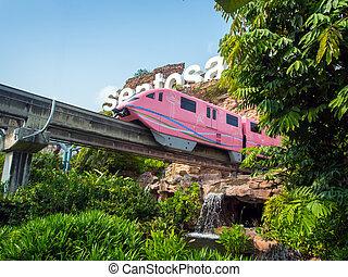 Train arriving Sentosa - SENTOSA SINGAPORE - March 08 Train...