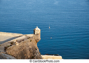 Sentry box in santa barbara castle with the sea. Alicante Spain